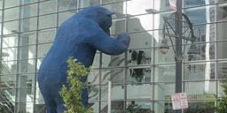 """This 40 foot tall """"Big Blue Bear"""" sculpture doesn't come just for children's books. The public art has been part of the Colorado Convention Center since 2005. Learn about the bear's creator here."""