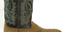 "Fashion meets function. The ""roper style"" cowboy boot has a square, short heel for cowboys on the move. (Photo credit: Hustvedt, Wikimedia Commons)"